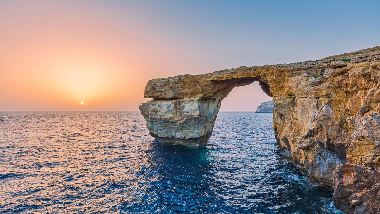 Gozo, Malta - The Azure Window at Sunset (Taken Before Its Collapse)