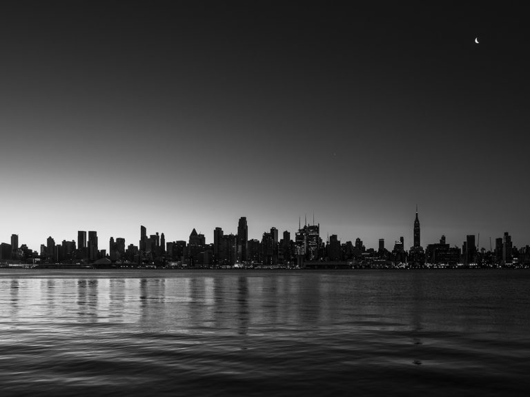The Manhattan Skyline as Seen from New Jersey at the Break of Dawn
