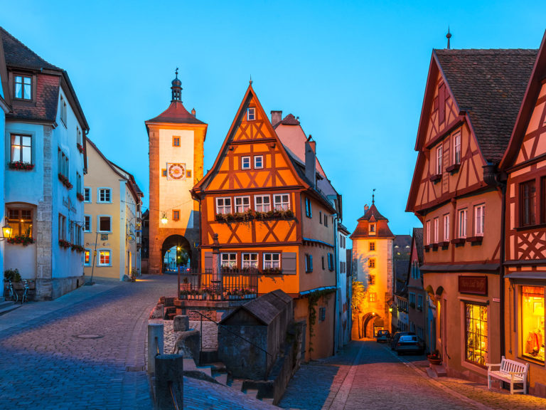 Rothenburg ob der Tauber, Germany - The Plönlein at the Blue Hour