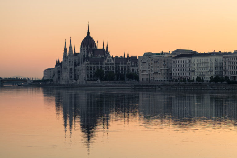 The Parliament Building in Budapest and the Danube at Dawn (Hungary)